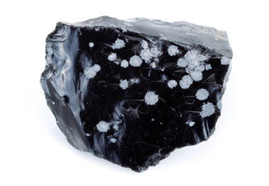 Snowflake obsidian is black obsidian with whitish-gray spots of radiating needle-shaped cristobalite crystals.