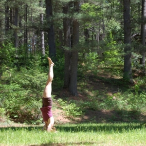 Yoga headstand as expression of passion